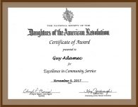 Daughters of American Revolution - Award